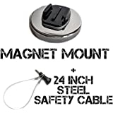 The Accessory Pro® Magnetic Mount and Steel Safety Cable compatible with all GoPro® cameras - 100+ mph speed