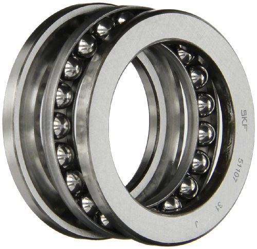 - SKF 51107 Single Direction Thrust Bearing, 3 Piece, Grooved Race, 90° Contact Angle, ABEC 1 Precision, Open, Steel Cage, 35mm Bore, 53mm OD, 12mm Width, 8430lbf Static Load Capacity, 3910lbf Dynamic Load Capacity