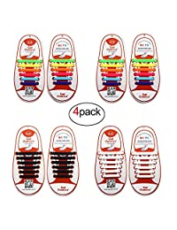 4 Pairs No-Tie Shoelaces for Kids/Adult, Oumers Lazy Tieless Silicone Shoelaces Rubber Sneaker Shoelaces
