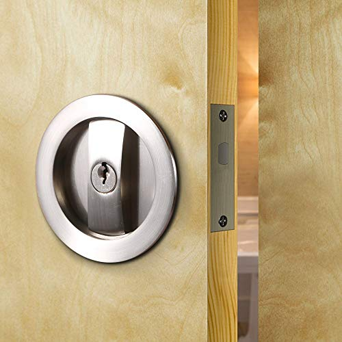 (CCJH Invisible Barn Wood Sliding Door Gate Cup Handle Lock Hardware with Keys (Sliver (dia-2.95
