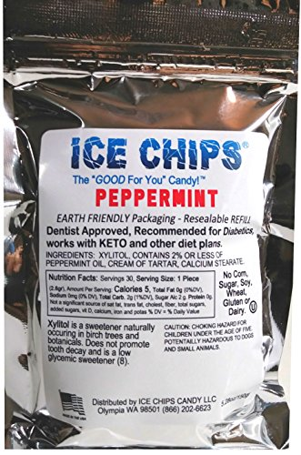 (ICE CHIPS Birchwood Xylitol Candy in Large 5.28 oz Resealable Pouch; Low Carb & Gluten Free (Peppermint))