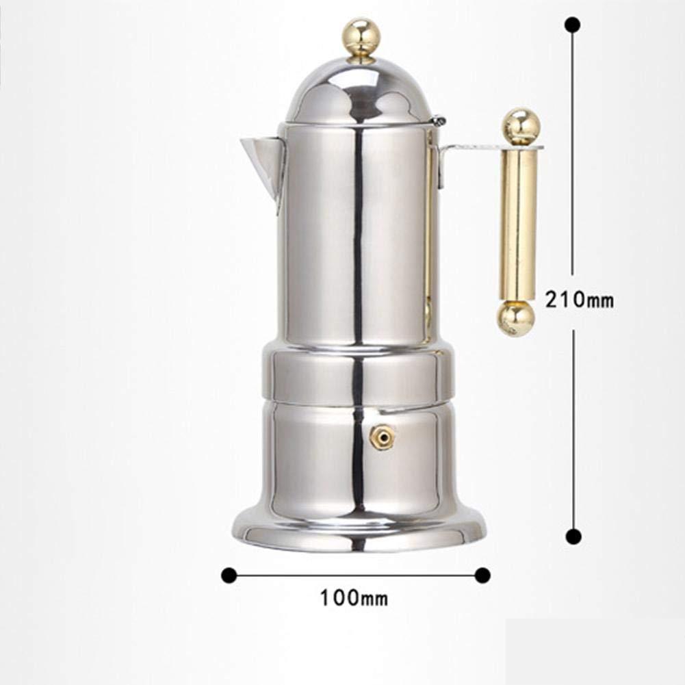 Cafetera Acero Inoxidable Cafetera Italiana Puede ser Calentado por Cocina de Inducción y Llama Abierta Uso Doméstico y en la Oficina,4tazas