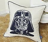 DecorHouzz Darth Vader Star wars Embroidered Pillow Cases Cushion Cover Teen Children Standard Decorative Gift Birthday Kids 18''x18'' (18X18, Darth Appliqued)
