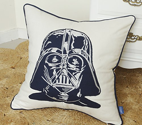 DecorHouzz Darth Vader Star wars Embroidered Pillow Cases Cushion Cover Teen Children Standard Decorative Gift Birthday Kids 18