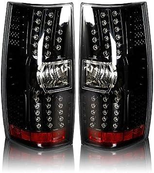 Winjet WJ20-0066-16 LED Tail Lights for 2007-2013 Chevrolet Suburban Tahoe Gloss Black//Clear
