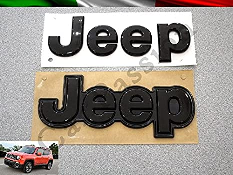 Par texto Escudo Logo Jeep Renegade Cherokee Grand Cherokee Compass delantera trasera original negro brillante: Amazon.es: Coche y moto