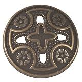 Medieval Templar Cross Button. Antique Brass Finish. 3/4'' (19mm)