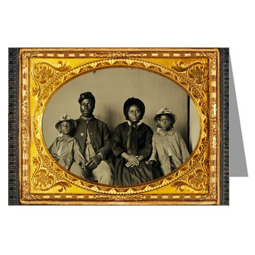 1 Vintage Greeting Cards of African American soldier in Union uniform with wife and two daughters Ambrotype / Tintype from the Civil War