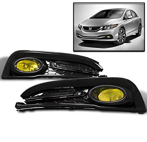 - ZMAUTOPARTS 15 Honda Civic Sedan 4Dr Bumper Driving Fog Lights Lamp Yellow W/Bulb+Switch