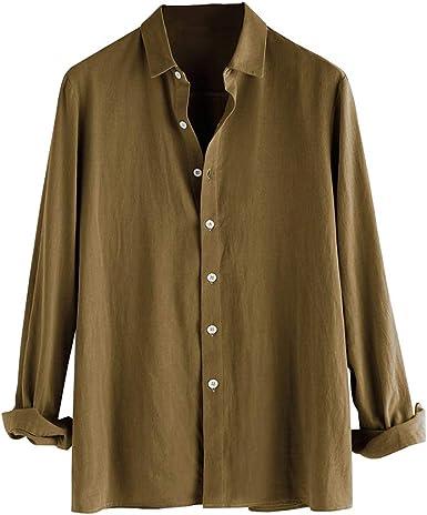 Hombre Cuello Kent Camisa Informal Blusas de Trabajo de Color Sólido Corte Ajustado Shirt de Algodón Sin Malos olores: Amazon.es: Ropa y accesorios