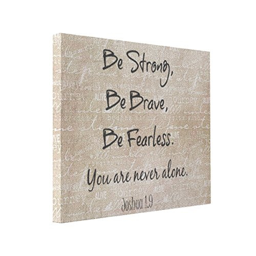 Wall Art Be Strong, Brave Fearless Bible Verse Quote 10x8 Canvas Print