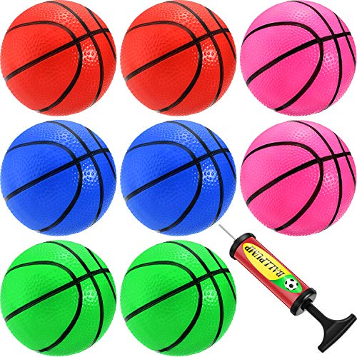 8 Pieces Mini Basketball Mini Hoop Basketballs Pool Basketball Toys with Inflation Pump for Beach Pool Sports Game Party…