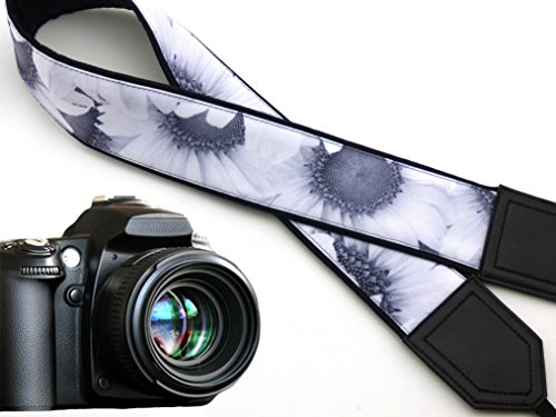 InTePro padded sunflowers camera strap. Wedding camera strap.White flowers. Black and white floral camera strap. Black DSLR / SLR Camera Strap. code 00005