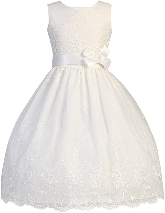 edaaa4a000 Amazon.com  White Embroidered Organza Communion Dress with Ribbon (6 ...