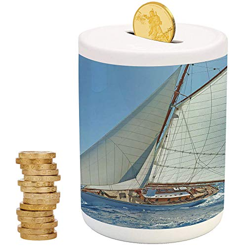 Nautical,Ceramic Child Bank,Printed Ceramic Coin Bank Money Box for Cash Saving,Sailboat on The Sea Regatta Race Yacht and Windy Weather Competition Theme ()
