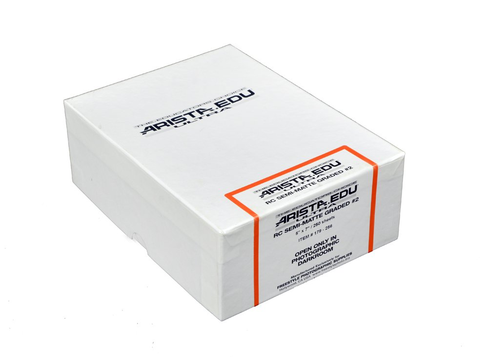 ARISTA 179256 EDU Ultra Black & White Photographic Paper Rc Semi-Matte #2, 5X7, 250 Sheets (Black)