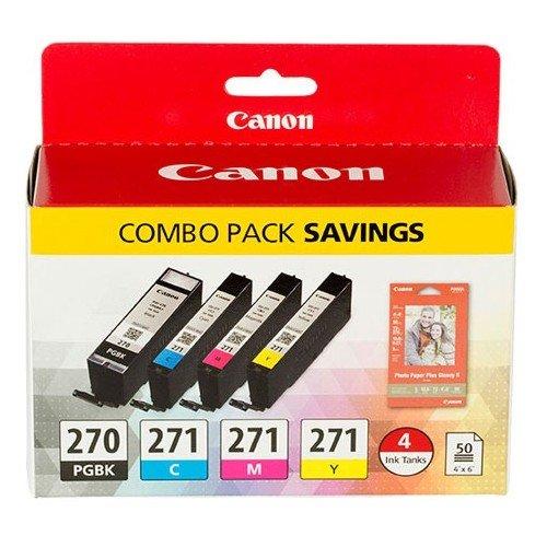 Canon PGI-270/CLI-271 4-Color BK/CMY Ink Cartridge for PIXMA MG5720 MG5721 MG5722 MG6820 MG6821 MG6822 MG7720 Includes 50 Sheets of 4