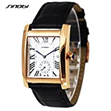 SINOBI Business Men Rectangular Wristwatch, Classic Roman Num Date Sub-dial Black Leather Watch Men Gold