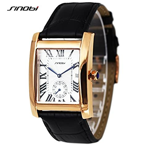 SINOBI Business Men Rectangular Wristwatch, Classic Roman Num Date Sub-dial Black Leather Watch Men (Mens Leather Watches Small)
