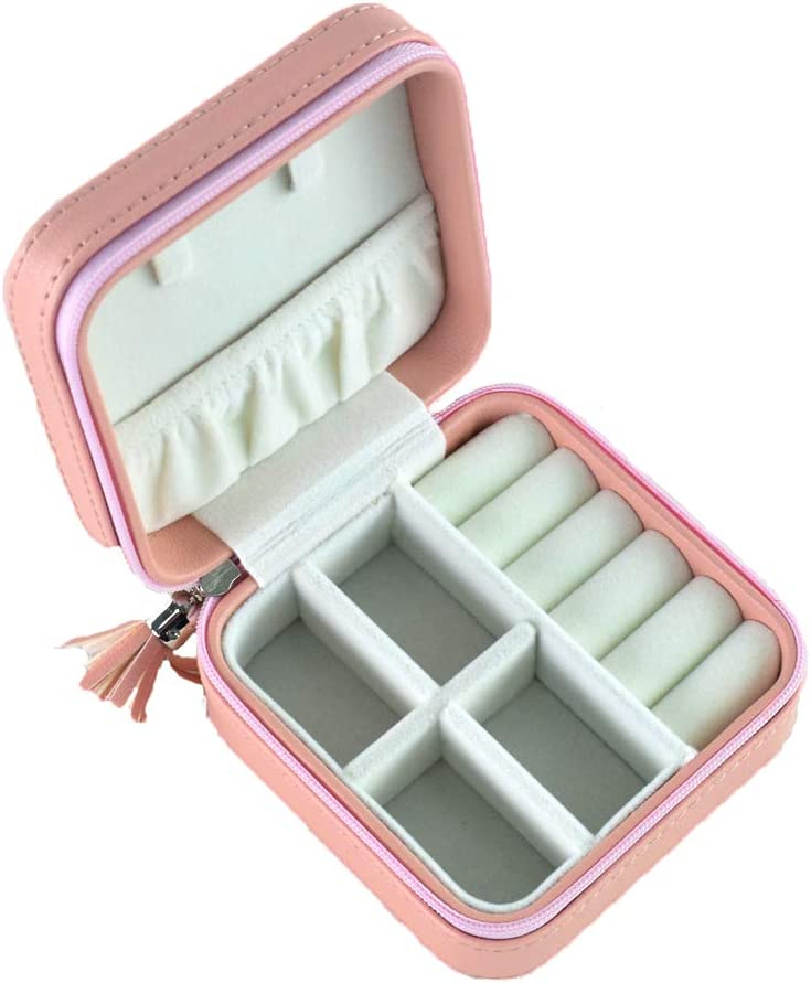 Beige BEGhome Portable Travel Jewelry Boxes Compact Size Small Jewellery Case for Rings and Earrings