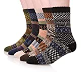 EBMORE Men's Fashion Printed Winter Casual Wool Classic Crew Socks 5-Pack