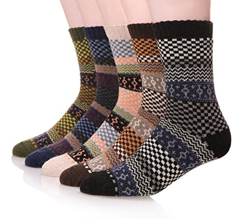 Design Wool Blend - EBMORE Men's Fashion Printed Winter Casual Wool Classic Crew Socks 5-Pack (Classic)