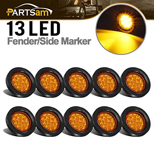 "Partsam 10Pcs 2.5"" Round Amber Led and Side Marker Lights Kit 13 Diodes with Light Grommet and Wire Pigtail Truck Trailer Rv Flush Mount Waterproof 12V Sealed, 2.5 Round Led Marker Lights"