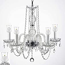 """Crystal Chandelier Lighting Chandeliers W/ Candle Votives H.25"""" W.24"""" For Indoor / Outdoor Use! Great for Outdoor Events, Hang from Trees / Gazebo / Pergola / Porch / Patio / Tent !"""