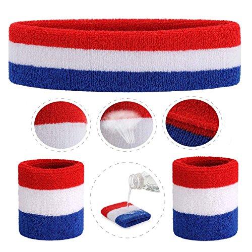 ONUPGO Sweatband Set Sports Headband Wristband Set Sweatbands Terry Cloth Wristband Wrist Sweatband Headbands Moisture Wicking Sweat Absorbing Head Band 4