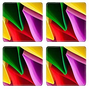 Liili Square Coasters Image ID 23446424 Colorful card in unique elliptical shapes with shadow effect and selective focus on a black background