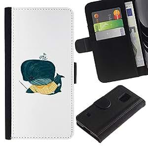 ARTCO Cases - Samsung Galaxy S5 V SM-G900 - Cute Funny Whale Cartoon Illustration Original - Cuero PU Delgado caso Billetera cubierta Shell Armor Funda Case Cover Wallet Credit Card