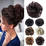 Hair Bun Extensions Wavy Curly Messy Hair Extensions Donut Hair Chignons Synthetic Hair Piece Wig (Dark Brown)