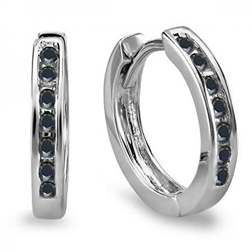 Dazzlingrock Collection 0.18 Carat (ctw) 10k Small Round Black Diamond Huggie Hoop Earrings, White Gold
