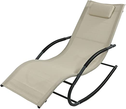 Tommy Bahama Outdoor Cushions, Amazon Com Sunnydaze Outdoor Rocking Wave Lounger With Pillow Patio And Lawn Lounge Chair Rocker Beige Garden Outdoor