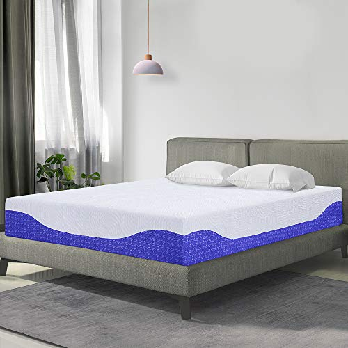 PrimaSleep PR10FM08Q-2 10 Inch Multi-Layered Infused Memory Foam Mattress, Queen,Cobalt ()