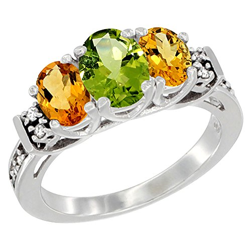 14K White Gold Natural Peridot & Citrine Ring 3-Stone Oval Diamond Accent, size 8