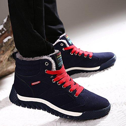blu Uomo Classico Invernali SITAILE Sneaker Pelliccia Scarponi Neve Scarpe Piatto Stivali da A 7qHnpAHO