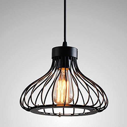 Modern Vintage Industrial Retro Pendant Light Metal Cage Loft Bar Ceiling Light Shade Hanging Pendant Light Wire Cage Lamp Guard (E27 Base, Black)
