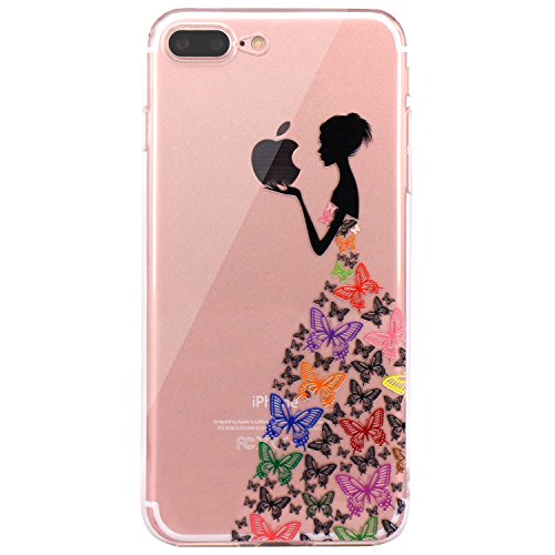 iPhone 7 Plus Case, iPhone 8 Plus Case, JAHOLAN Beautiful Clear TPU Soft Case Rubber Silicone Skin Cover for Apple iPhone 7 Plus/iPhone 8 Plus - Black Colorful Butterfly Girl (Girls Beautiful Cover)