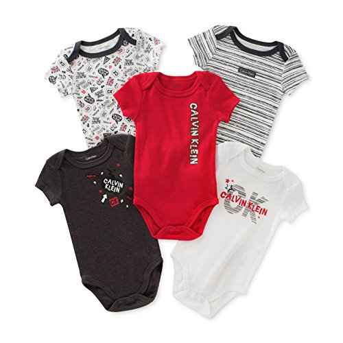 Calvin Klein Baby Boys' Assorted Short Sleeve Bodysuit - Charcoal/Red - 6-9 Months