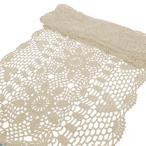 Maymii•Home Handmade Crochet Flower Lace Table Runner Rustic Elegant Runner Cabinet Room Dining Room Table Decoration Design Dresser Floral (15.740 in…
