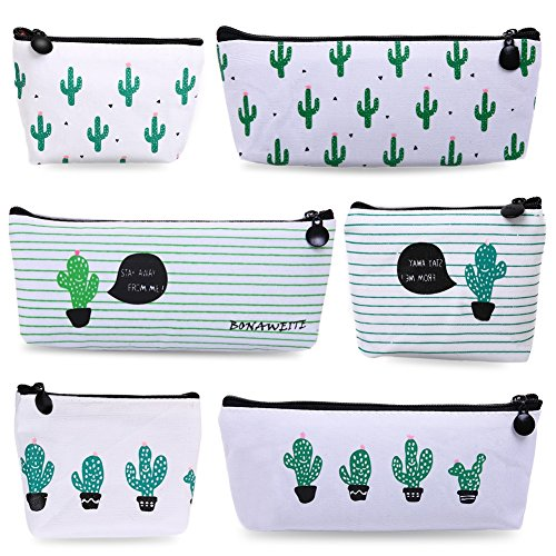Bonaweite Cactus Pastoral Bandage Canvas Pencil Case Box Coin Purse Makeup Bag Set of 6 - Cute Teens Glasses For