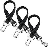 OMorc Safety Leads de los Mascotas del Vehículo del Coche Cinturón de Seguridad del Asiento para los Perros / Gatos, Material de Nylón, 16-25 pulgadas ajustable - Negro (3pack)