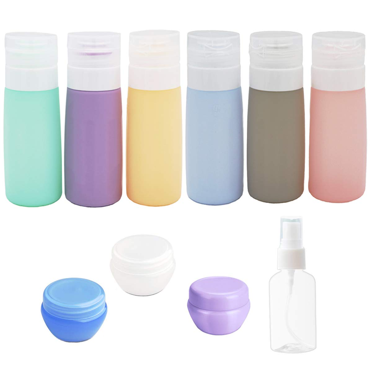 10Pack Travel Bottles Set -3Oz Leakproof Silicone Refillable Travel Containers, Squeezable Travel Tube Sets, TSA Approved Travel Size Bottles, Cosmetic Toiletry Containers for Shampoo Lotion Soap