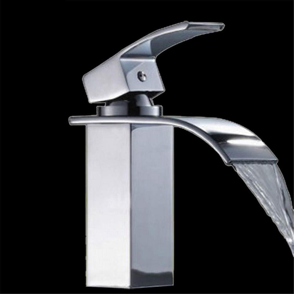 Cvthfyky Faucet Copper Washbasin Waterfall Mixing Faucet Single Handle Hot And Cold Mixing Valve Faucet Basin (color