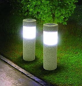 led pathway lights. 2 Solar Pillar LED Pathway Lights Path Stone Look Yard Garden Landscape Sidewalk Led D