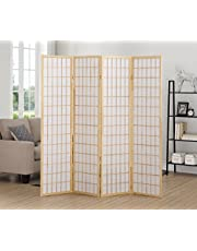 Roundhill Furniture 4 Panel Oriental Shoji Screen Room Divider