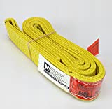 "DD Sling (USA Made). 2"" wide X (4' to 20' lengths) in Listing! 2 Ply Twisted Eye, Nylon Lifting Slings, Eye & Eye, Heavy Duty (900 webbing), 6,400 lbs Vertical, 5,100 Choker, 12,800 Basket Load Capacity (2inX6ft)"