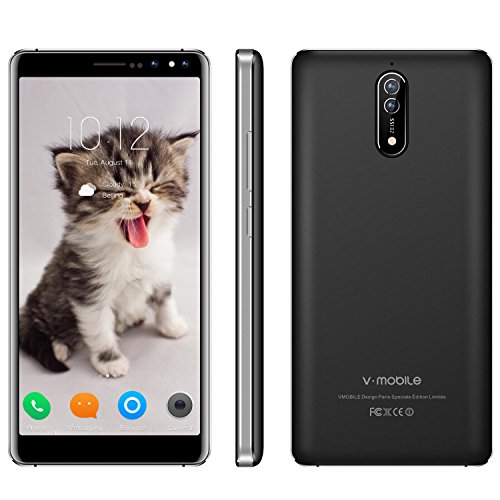 3G Unlocked Smart Phone,5.5 Inch 16GB ROM V Mobile N8-N 8MP&5MP Camera Android 7.0 Dual Sim Quad-core 2800mAh Battery Cheap and Fine Supports WI-FI Bluetooh GPS for at&T T-Mobile(Black) by V·Mobile