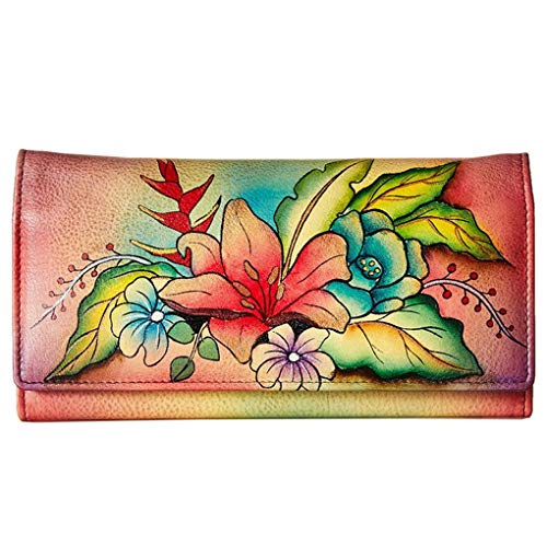 Anna by Anuschka Ladies Wallet & Key Chain (Multi Pocket Tropical Bouquet)